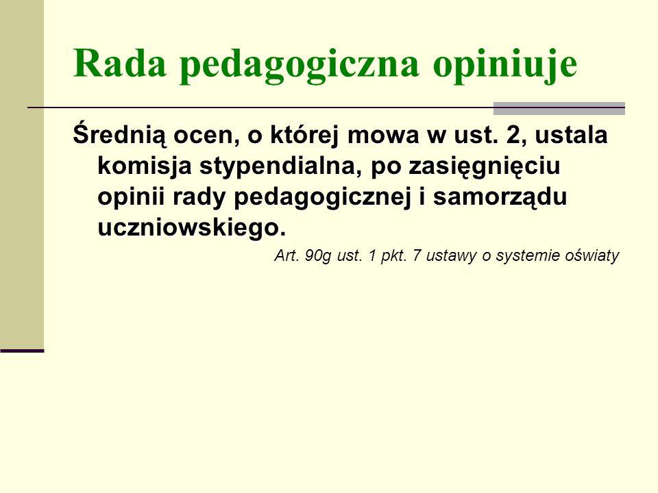 Rada pedagogiczna opiniuje Średnią ocen, o której mowa w ust.