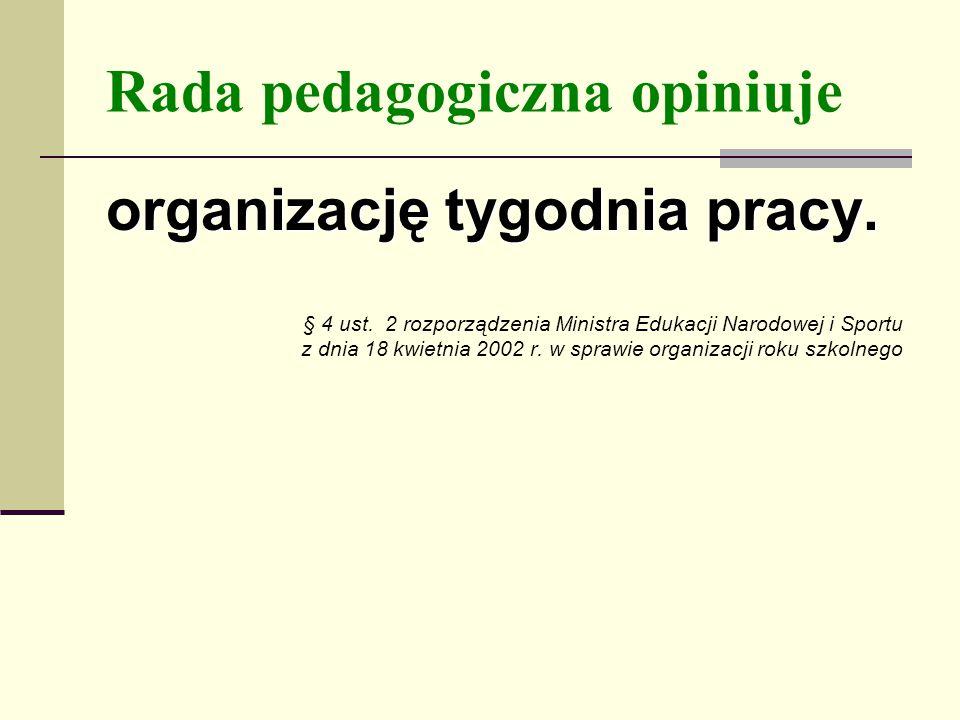 Rada pedagogiczna opiniuje organizację tygodnia pracy.