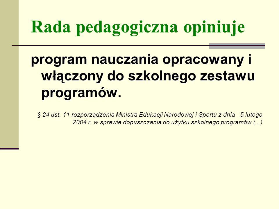 Rada pedagogiczna opiniuje program nauczania opracowany i włączony do szkolnego zestawu programów.