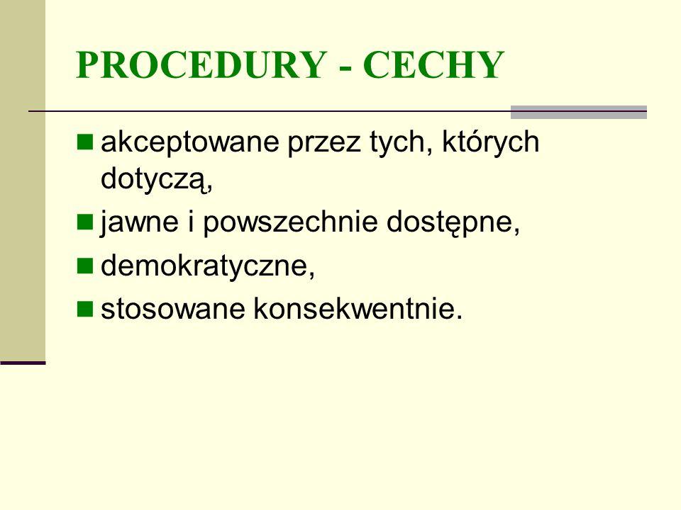 PROCEDURY - CECHY akceptowane przez tych, których dotyczą, jawne i powszechnie dostępne, demokratyczne, stosowane konsekwentnie.
