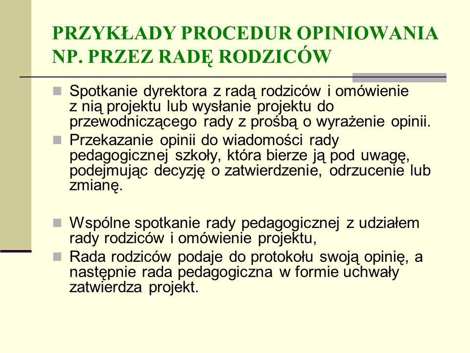 PRZYKŁADY PROCEDUR OPINIOWANIA NP.