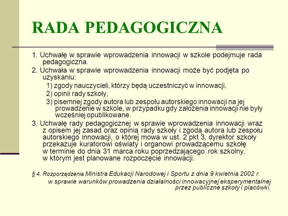 RADA PEDAGOGICZNA 1.Uchwałę w sprawie wprowadzenia innowacji w szkole podejmuje rada pedagogiczna.