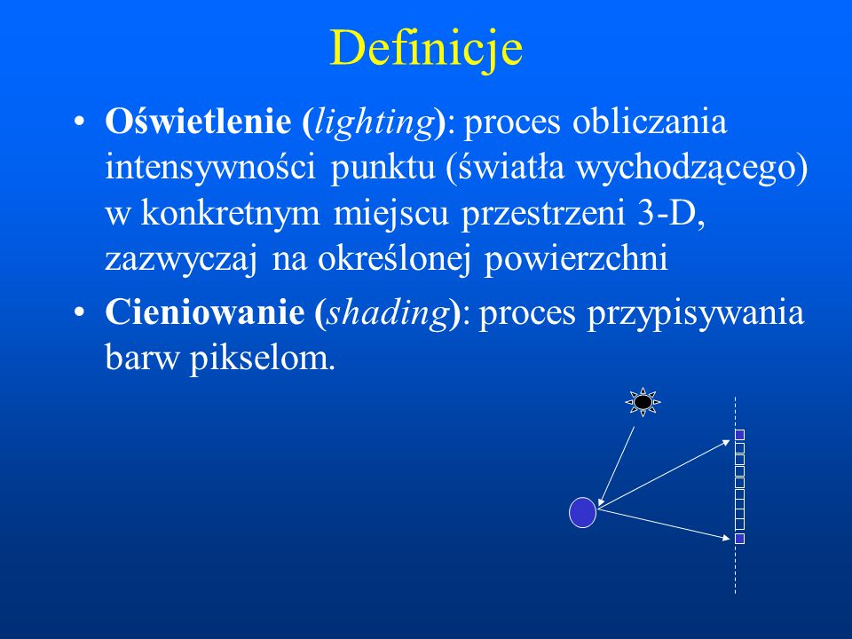 Definicje Oświetlenie (lighting): proces obliczania intensywności punktu (światła wychodzącego) w konkretnym miejscu przestrzeni 3-D, zazwyczaj na okr