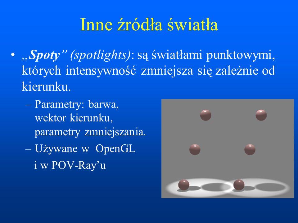 """Inne źródła światła """"Spoty"""" (spotlights): są światłami punktowymi, których intensywność zmniejsza się zależnie od kierunku. –Parametry: barwa, wektor"""
