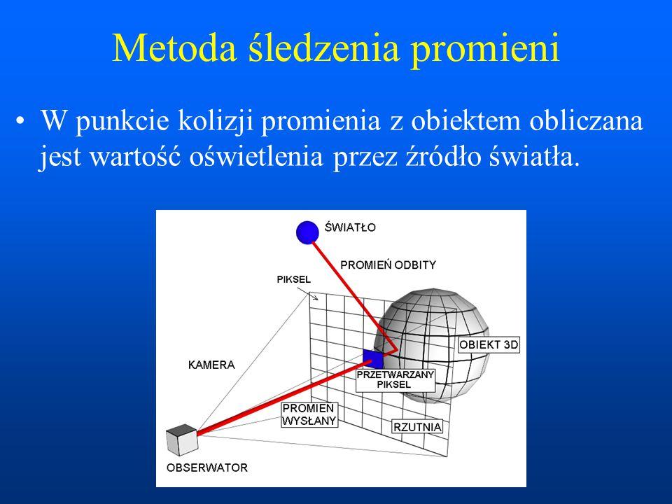 W punkcie kolizji promienia z obiektem obliczana jest wartość oświetlenia przez źródło światła.