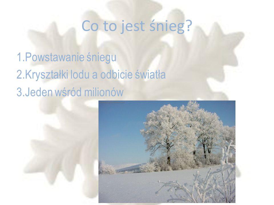 Co to jest śnieg? 1.Powstawanie śniegu 2.Kryształki lodu a odbicie światła 3.Jeden wśród milionów