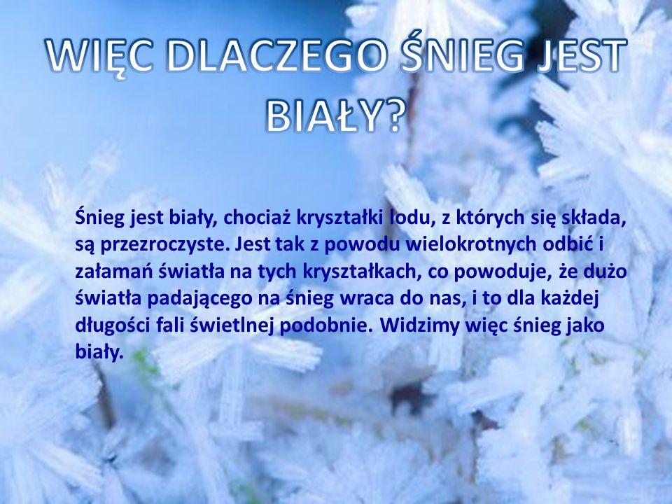 Śnieg jest biały, chociaż kryształki lodu, z których się składa, są przezroczyste.