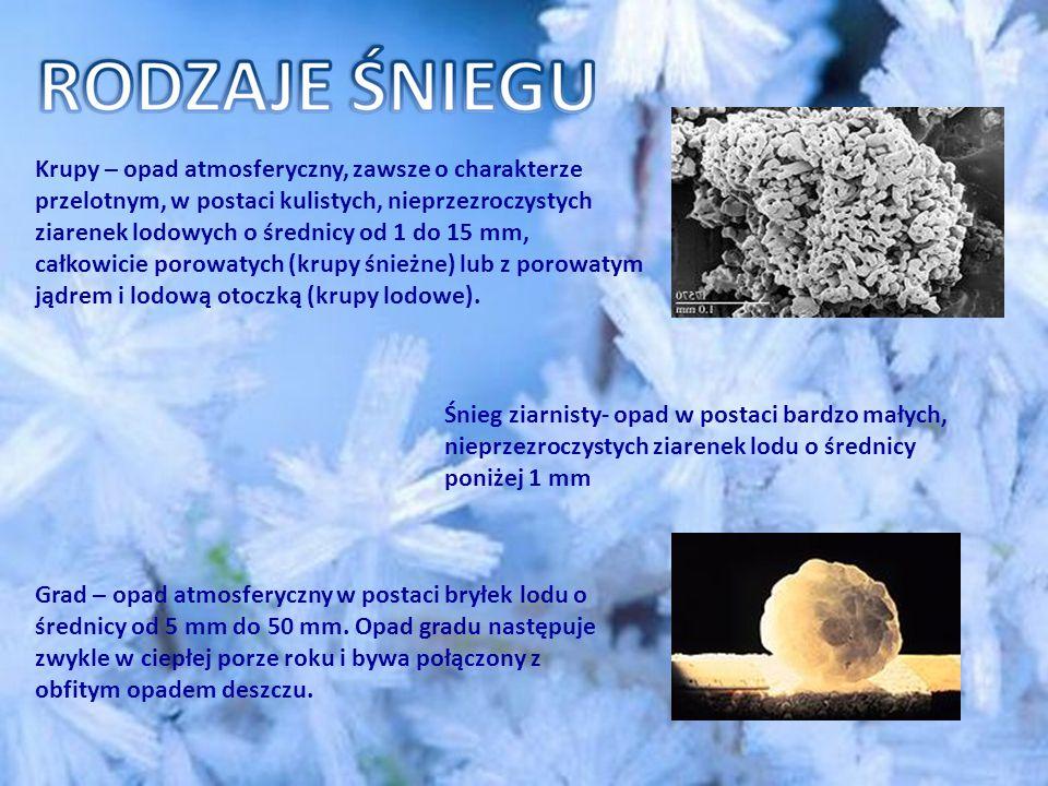 Śnieg ziarnisty- opad w postaci bardzo małych, nieprzezroczystych ziarenek lodu o średnicy poniżej 1 mm Krupy – opad atmosferyczny, zawsze o charakterze przelotnym, w postaci kulistych, nieprzezroczystych ziarenek lodowych o średnicy od 1 do 15 mm, całkowicie porowatych (krupy śnieżne) lub z porowatym jądrem i lodową otoczką (krupy lodowe).