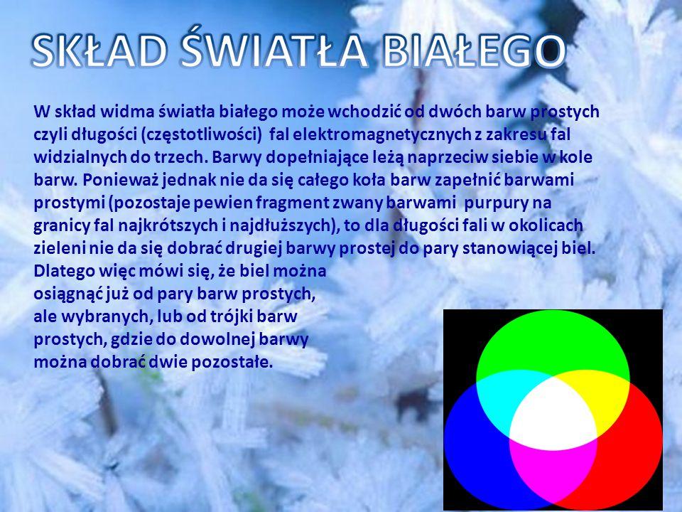 W skład widma światła białego może wchodzić od dwóch barw prostych czyli długości (częstotliwości) fal elektromagnetycznych z zakresu fal widzialnych do trzech.