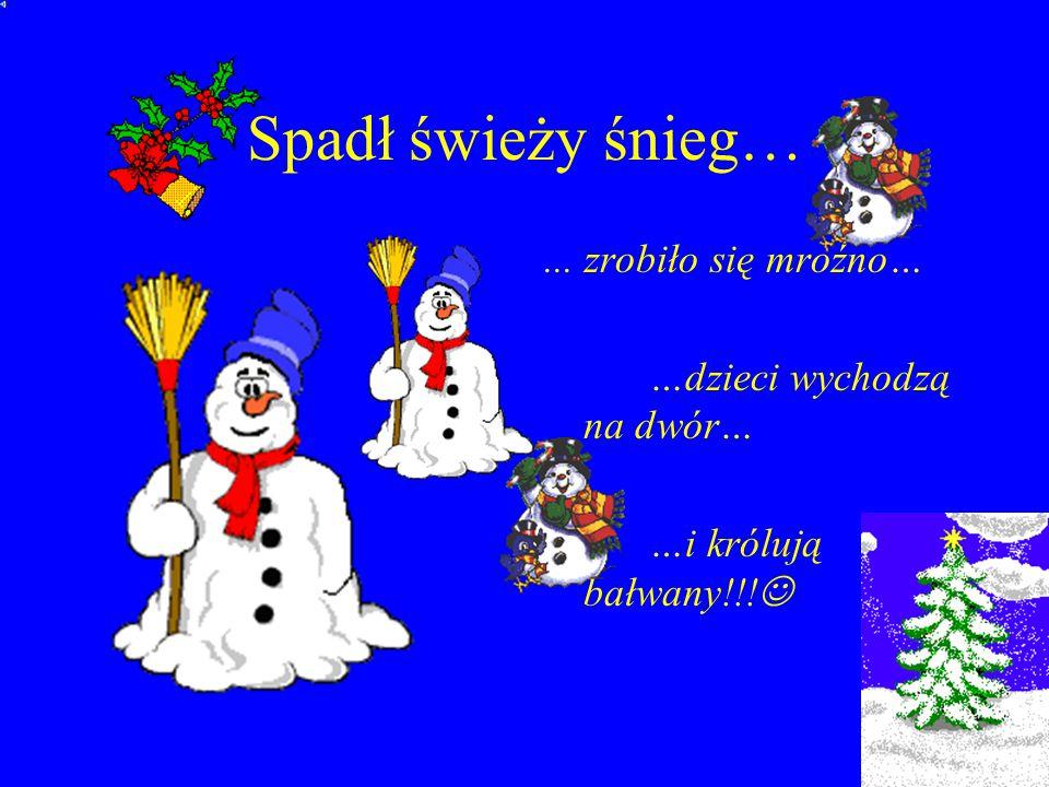 Spadł świeży śnieg…... zrobiło się mroźno… …dzieci wychodzą na dwór… …i królują bałwany!!!