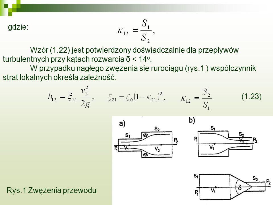 gdzie: Wzór (1.22) jest potwierdzony doświadczalnie dla przepływów turbulentnych przy kątach rozwarcia δ < 14 o. W przypadku nagłego zwężenia się ruro