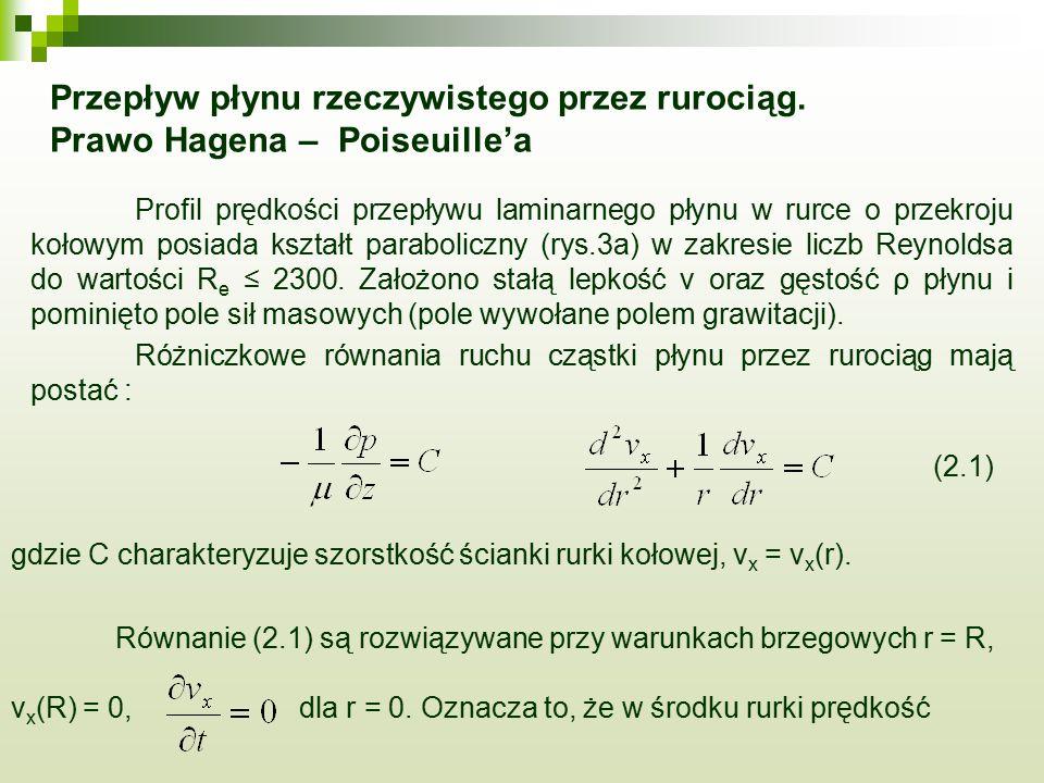 Przepływ płynu rzeczywistego przez rurociąg. Prawo Hagena – Poiseuille'a Profil prędkości przepływu laminarnego płynu w rurce o przekroju kołowym posi