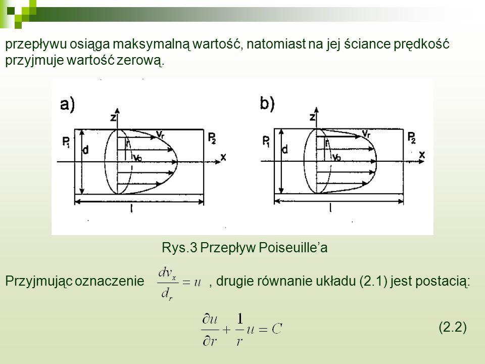 przepływu osiąga maksymalną wartość, natomiast na jej ściance prędkość przyjmuje wartość zerową. Rys.3 Przepływ Poiseuille'a Przyjmując oznaczenie, dr