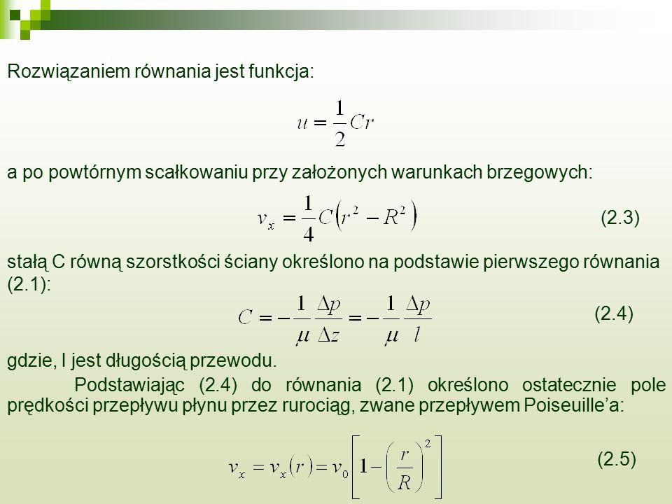 Rozwiązaniem równania jest funkcja: a po powtórnym scałkowaniu przy założonych warunkach brzegowych: (2.3) stałą C równą szorstkości ściany określono