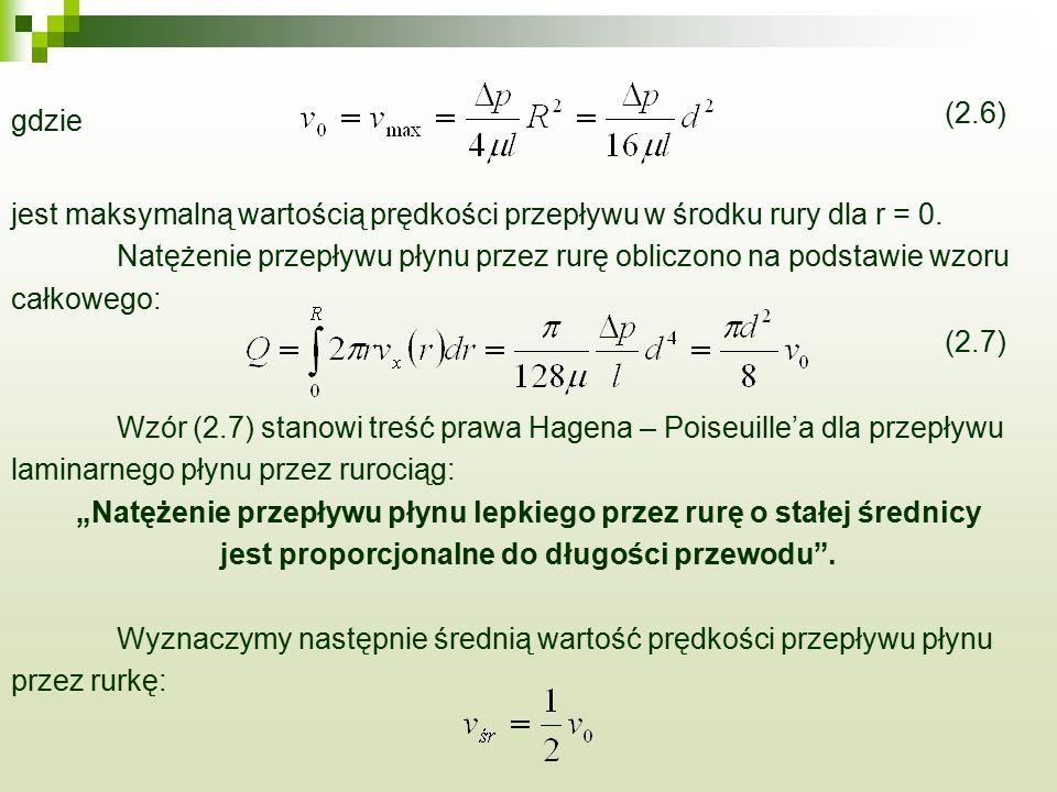 gdzie (2.6) jest maksymalną wartością prędkości przepływu w środku rury dla r = 0. Natężenie przepływu płynu przez rurę obliczono na podstawie wzoru c