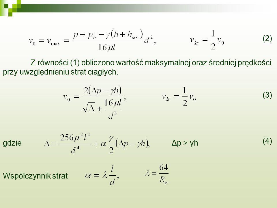 (2) Z równości (1) obliczono wartość maksymalnej oraz średniej prędkości przy uwzględnieniu strat ciągłych. (3) gdzieΔp > γh (4) Współczynnik strat