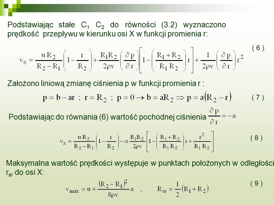 Podstawiając stałe C 1 C 2 do równości (3.2) wyznaczono prędkość przepływu w kierunku osi X w funkcji promienia r: Założono liniową zmianę ciśnienia p w funkcji promienia r : ( 6 ) ( 7 ) Podstawiając do równania (6) wartość pochodnej ciśnienia ( 8 ) Maksymalna wartość prędkości występuje w punktach położonych w odległości r śr do osi X: ( 9 )