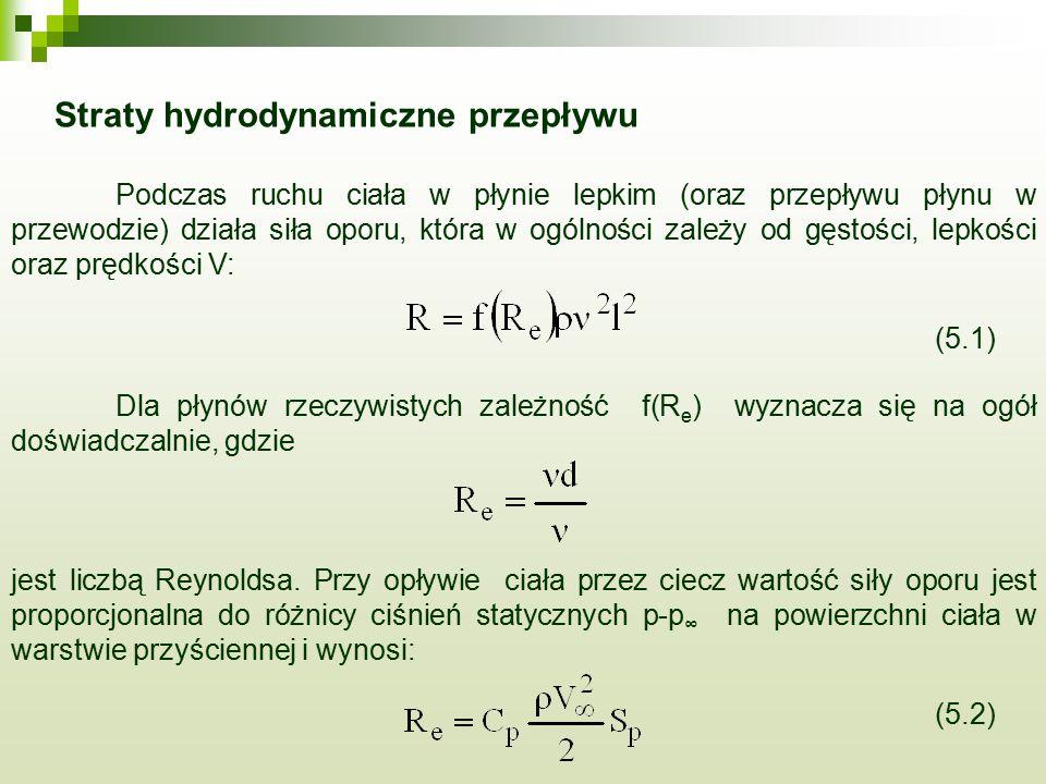Straty hydrodynamiczne przepływu Podczas ruchu ciała w płynie lepkim (oraz przepływu płynu w przewodzie) działa siła oporu, która w ogólności zależy o