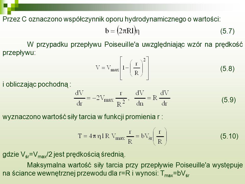 Przez C oznaczono współczynnik oporu hydrodynamicznego o wartości: W przypadku przepływu PoiseuiIle a uwzględniając wzór na prędkość przepływu: i obliczając pochodną : wyznaczono wartość siły tarcia w funkcji promienia r : Maksymalna wartość siły tarcia przy przepływie Poiseuille a występuje na ściance wewnętrznej przewodu dla r=R i wynosi: T max =bV śr gdzie V śr =V max /2 jest prędkością średnią.