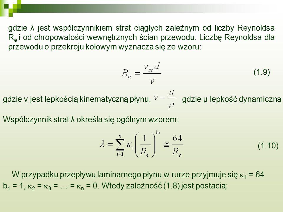 gdzie λ jest współczynnikiem strat ciągłych zależnym od liczby Reynoldsa R e i od chropowatości wewnętrznych ścian przewodu. Liczbę Reynoldsa dla prze