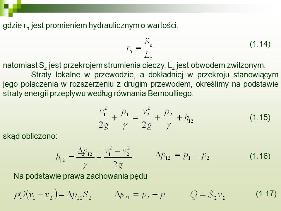 gdzie r n jest promieniem hydraulicznym o wartości: (1.14) natomiast S z jest przekrojem strumienia cieczy, L z jest obwodem zwilżonym. Straty lokalne