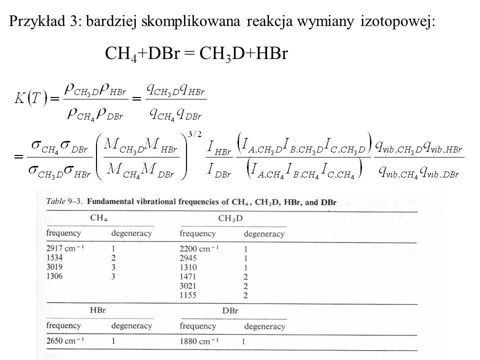 Przykład 3: bardziej skomplikowana reakcja wymiany izotopowej: CH 4 +DBr = CH 3 D+HBr