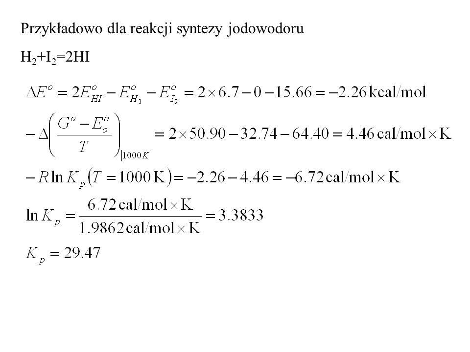 Przykładowo dla reakcji syntezy jodowodoru H 2 +I 2 =2HI