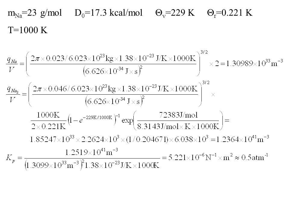 m Na =23 g/mol D 0 =17.3 kcal/mol  =229 K  r =0.221 K T=1000 K