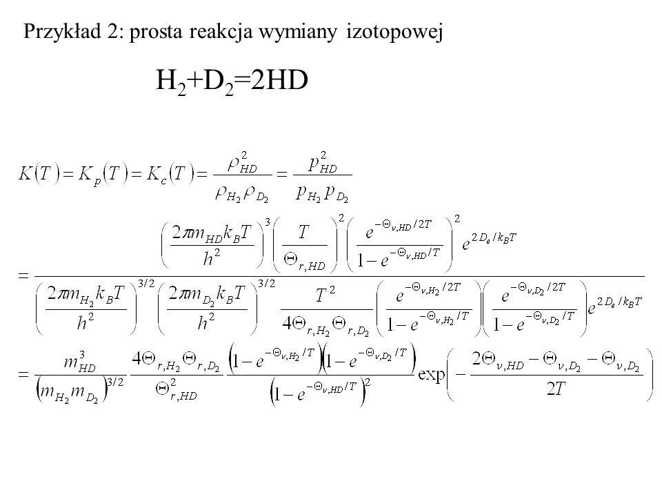 Przykład 2: prosta reakcja wymiany izotopowej H 2 +D 2 =2HD