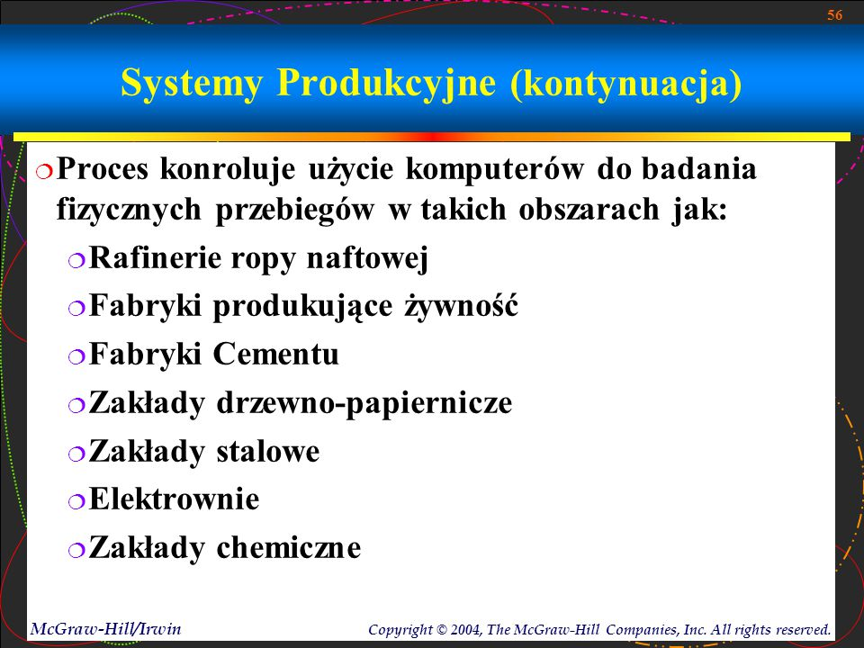 56 McGraw-Hill/Irwin Copyright © 2004, The McGraw-Hill Companies, Inc. All rights reserved. Systemy Produkcyjne (kontynuacja)  Proces konroluje użyci