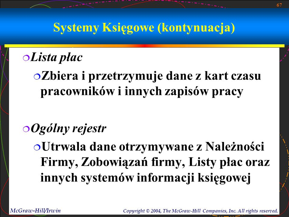 67 McGraw-Hill/Irwin Copyright © 2004, The McGraw-Hill Companies, Inc. All rights reserved. Systemy Księgowe (kontynuacja)  Lista płac  Zbiera i prz