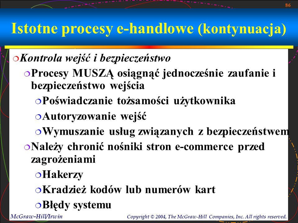 86 McGraw-Hill/Irwin Copyright © 2004, The McGraw-Hill Companies, Inc. All rights reserved. Istotne procesy e-handlowe (kontynuacja)  Kontrola wejść