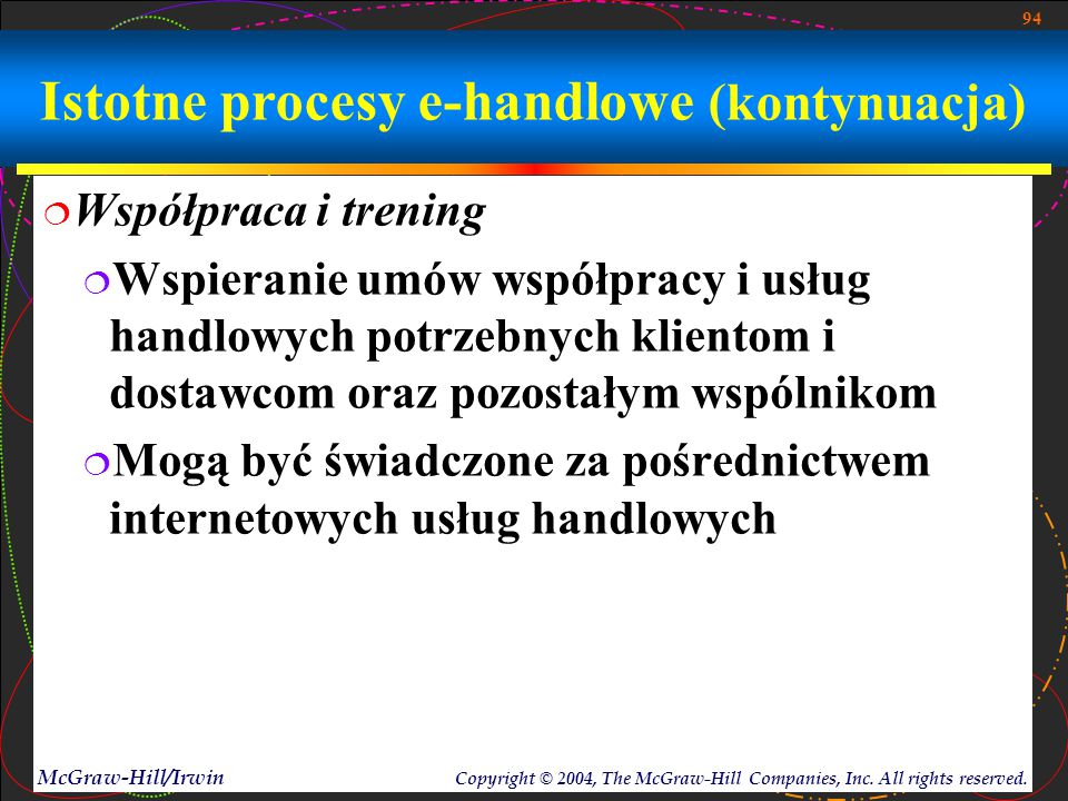 94 McGraw-Hill/Irwin Copyright © 2004, The McGraw-Hill Companies, Inc. All rights reserved. Istotne procesy e-handlowe (kontynuacja)  Współpraca i tr