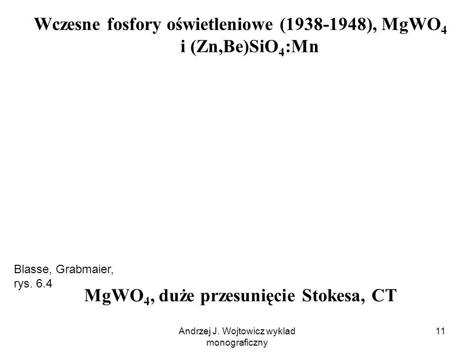 Andrzej J. Wojtowicz wyklad monograficzny 11 Wczesne fosfory oświetleniowe (1938-1948), MgWO 4 i (Zn,Be)SiO 4 :Mn MgWO 4, duże przesunięcie Stokesa, C