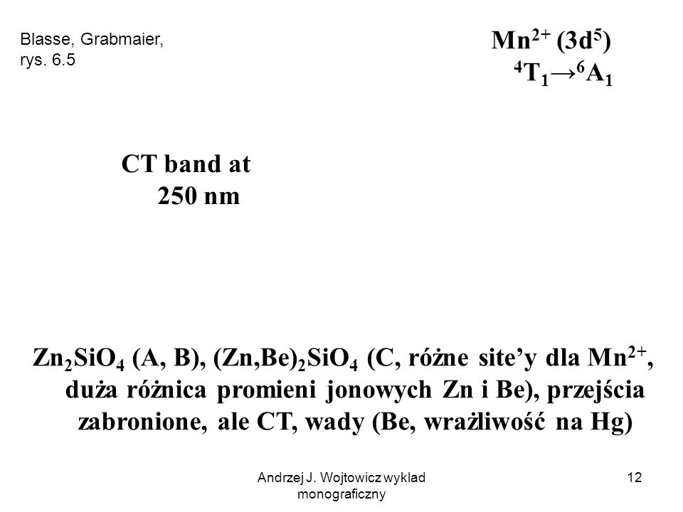 Andrzej J. Wojtowicz wyklad monograficzny 12 Zn 2 SiO 4 (A, B), (Zn,Be) 2 SiO 4 (C, różne site'y dla Mn 2+, duża różnica promieni jonowych Zn i Be), p