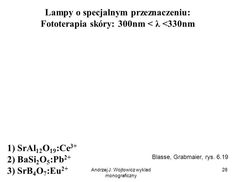 Andrzej J. Wojtowicz wyklad monograficzny 26 Lampy o specjalnym przeznaczeniu: Fototerapia skóry: 300nm < λ <330nm 1) SrAl 12 O 19 :Ce 3+ 2) BaSi 2 O