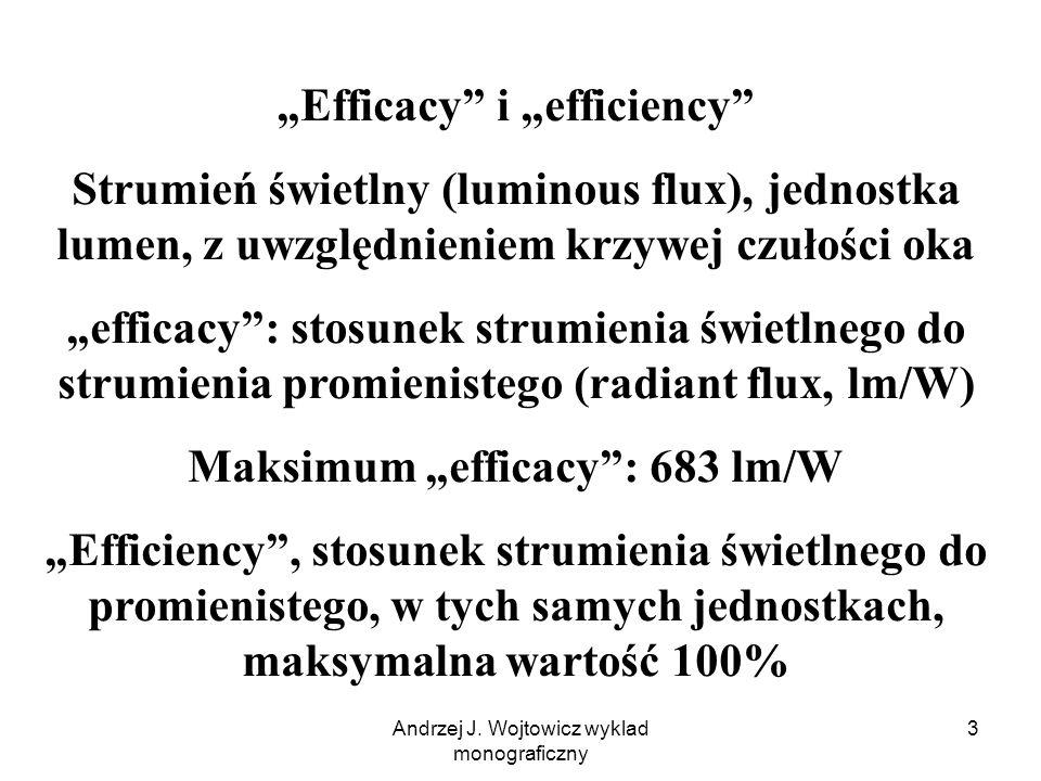 """Andrzej J. Wojtowicz wyklad monograficzny 3 """"Efficacy"""" i """"efficiency"""" Strumień świetlny (luminous flux), jednostka lumen, z uwzględnieniem krzywej czu"""