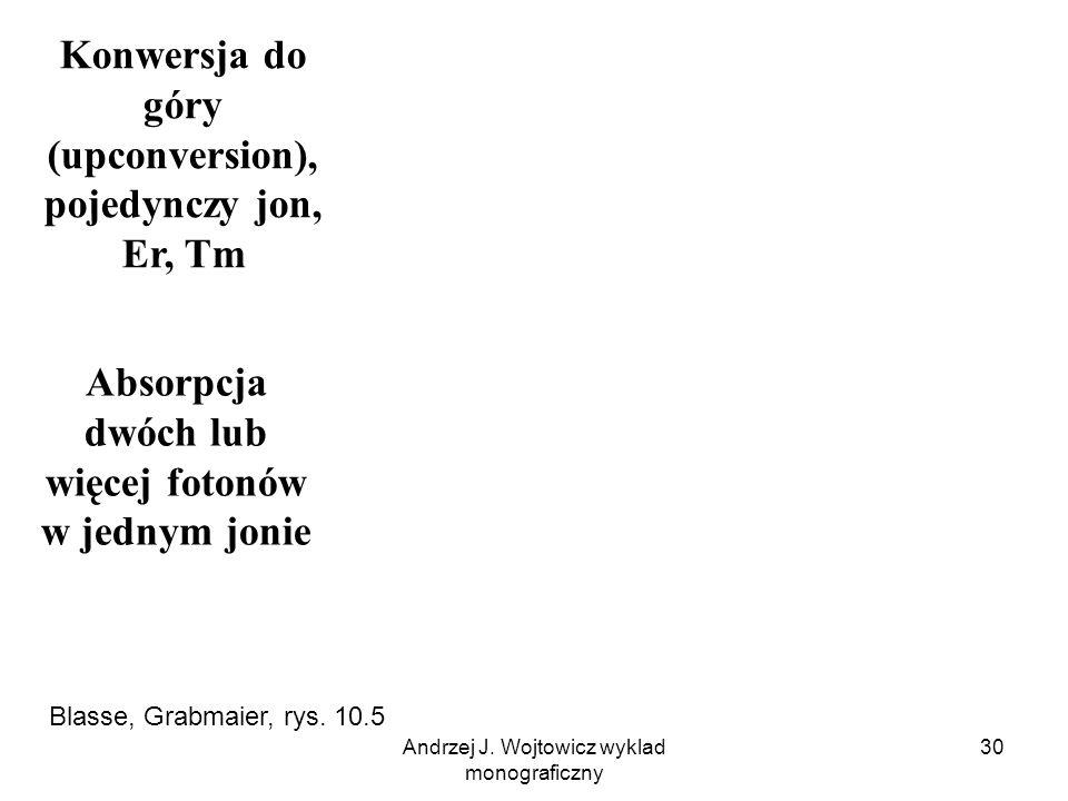 Andrzej J. Wojtowicz wyklad monograficzny 30 Absorpcja dwóch lub więcej fotonów w jednym jonie Konwersja do góry (upconversion), pojedynczy jon, Er, T