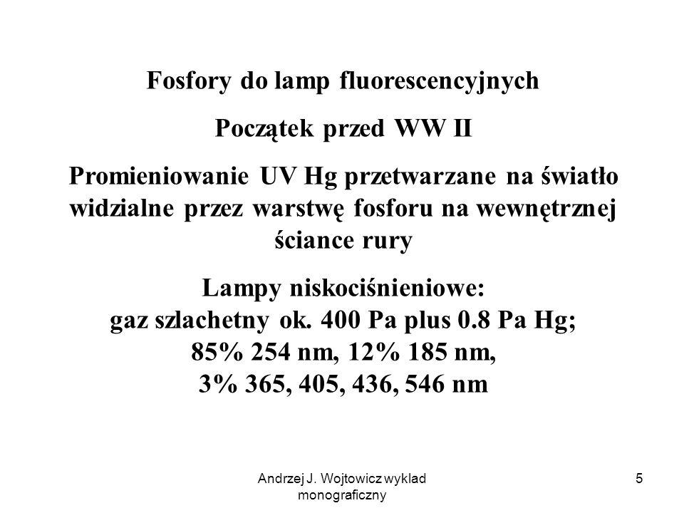Andrzej J. Wojtowicz wyklad monograficzny 5 Fosfory do lamp fluorescencyjnych Początek przed WW II Promieniowanie UV Hg przetwarzane na światło widzia