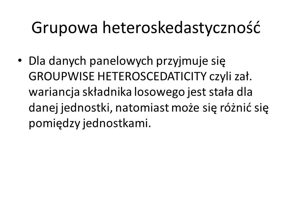 Grupowa heteroskedastyczność Dla danych panelowych przyjmuje się GROUPWISE HETEROSCEDATICITY czyli zał. wariancja składnika losowego jest stała dla da