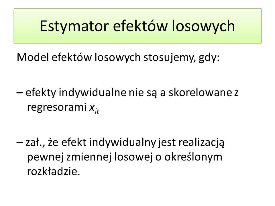 Estymator efektów losowych Model efektów losowych stosujemy, gdy: – efekty indywidualne nie są a skorelowane z regresorami x it – zał., że efekt indyw