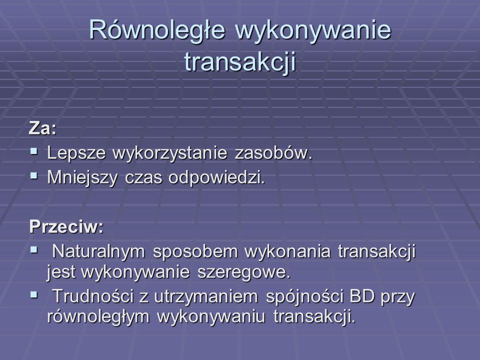 Równoległe wykonywanie transakcji Za:  Lepsze wykorzystanie zasobów.