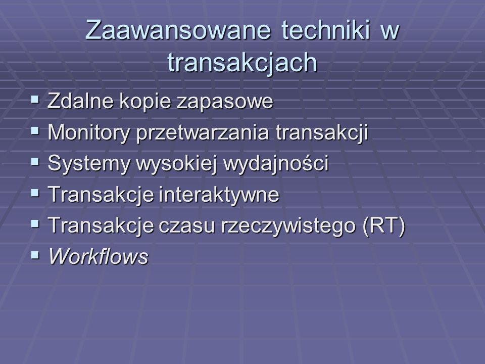 Zaawansowane techniki w transakcjach  Zdalne kopie zapasowe  Monitory przetwarzania transakcji  Systemy wysokiej wydajności  Transakcje interaktywne  Transakcje czasu rzeczywistego (RT)  Workflows