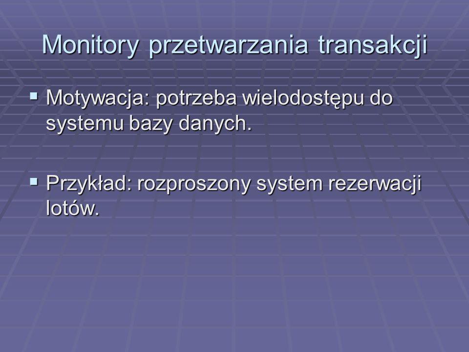Monitory przetwarzania transakcji  Motywacja: potrzeba wielodostępu do systemu bazy danych.