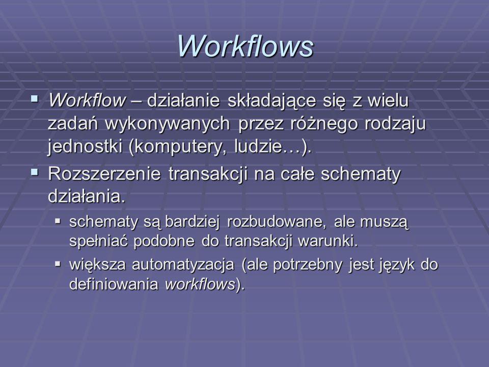 Workflows  Workflow – działanie składające się z wielu zadań wykonywanych przez różnego rodzaju jednostki (komputery, ludzie…).