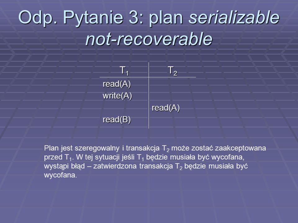 Odp. Pytanie 3: plan serializable not-recoverable T1T1T1T1 T2T2T2T2 read(A)write(A)read(B)read(A) Plan jest szeregowalny i transakcja T 2 może zostać