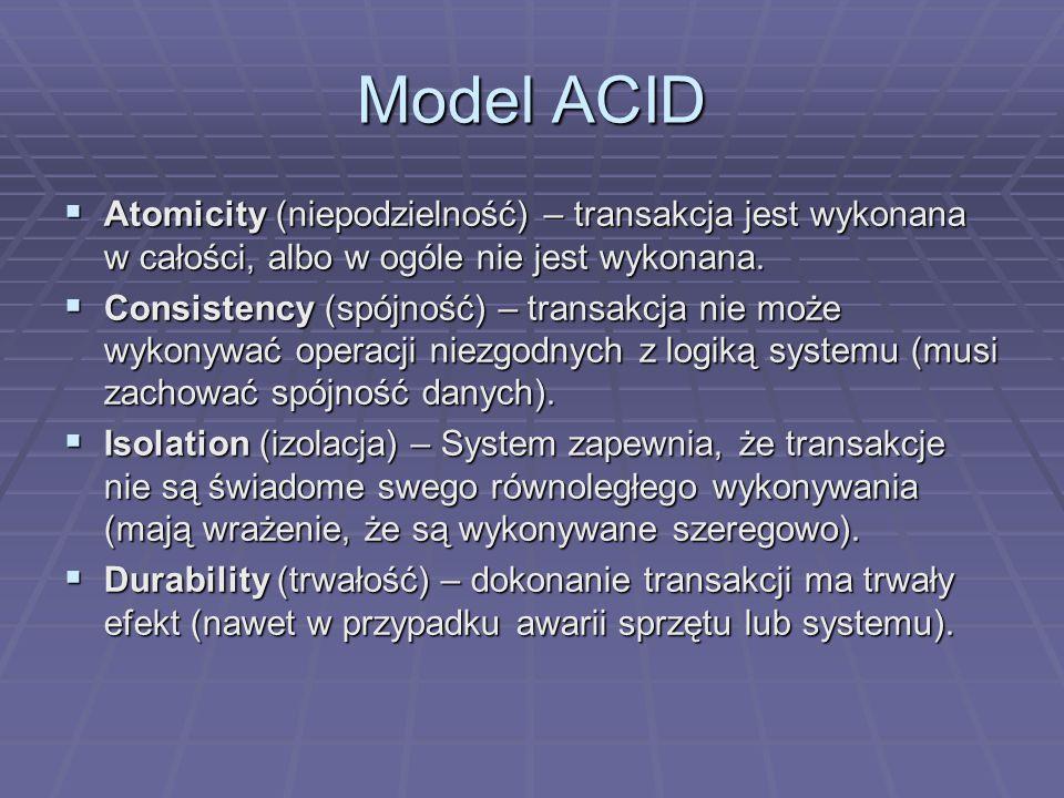 Model ACID  Atomicity (niepodzielność) – transakcja jest wykonana w całości, albo w ogóle nie jest wykonana.