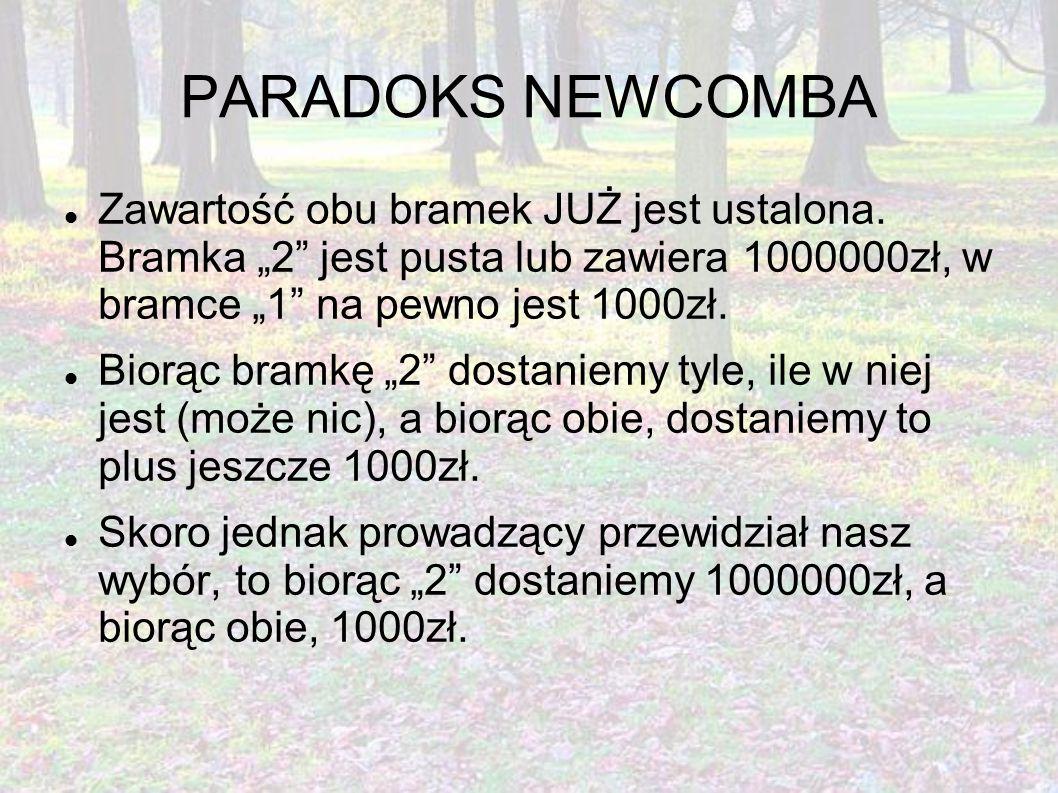 """PARADOKS NEWCOMBA Zawartość obu bramek JUŻ jest ustalona. Bramka """"2"""" jest pusta lub zawiera 1000000zł, w bramce """"1"""" na pewno jest 1000zł. Biorąc bramk"""