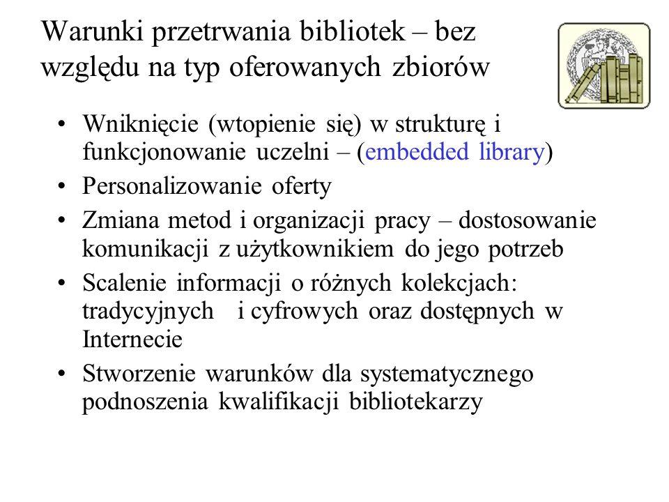 Warunki przetrwania bibliotek – bez względu na typ oferowanych zbiorów Wniknięcie (wtopienie się) w strukturę i funkcjonowanie uczelni – (embedded lib