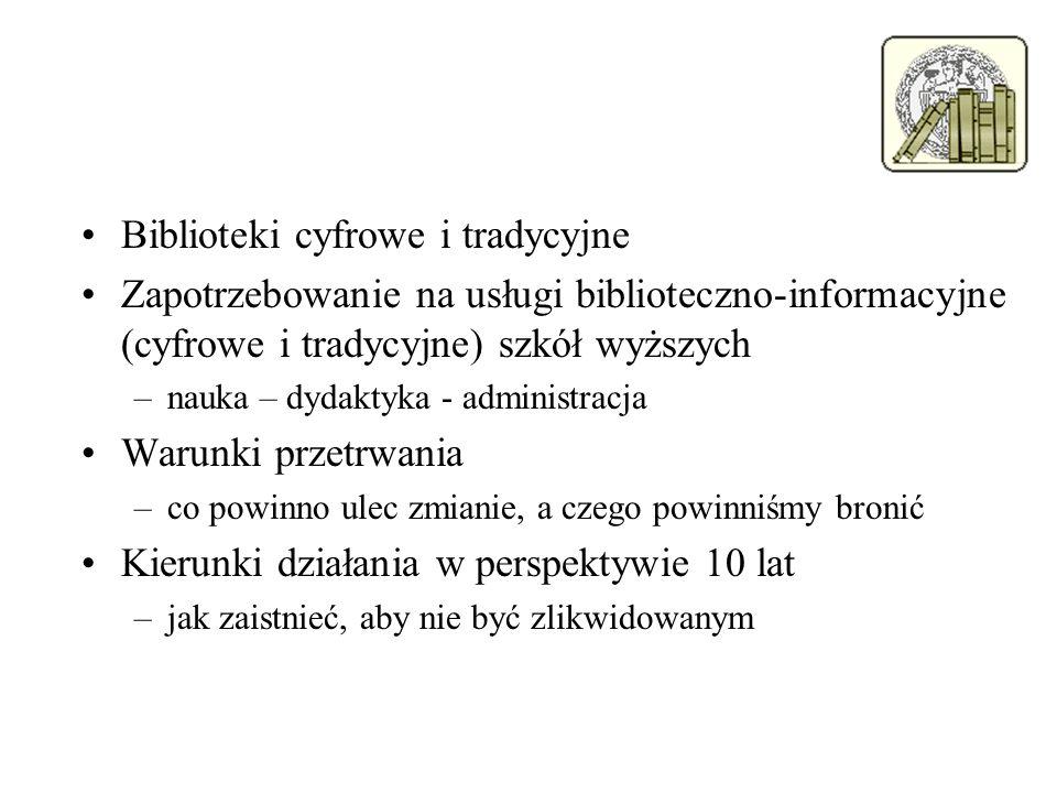 Biblioteki cyfrowe i tradycyjne Zapotrzebowanie na usługi biblioteczno-informacyjne (cyfrowe i tradycyjne) szkół wyższych –nauka – dydaktyka - adminis